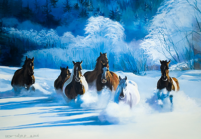 Horse Art Catalog / HORSES IN DEEP SNOW By Rich Thistle
