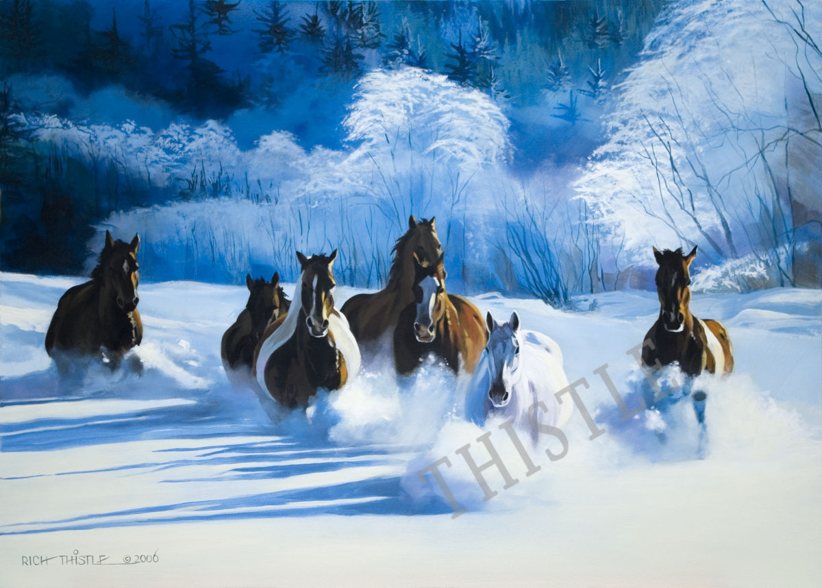 HORSES IN DEEP SNOW By Rich Thistle©
